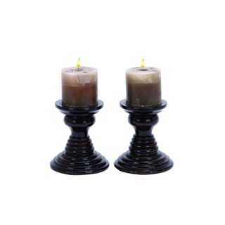 Brown Wood 6-inches High x 5-inches Wide Candle Holders (Pack of 2)