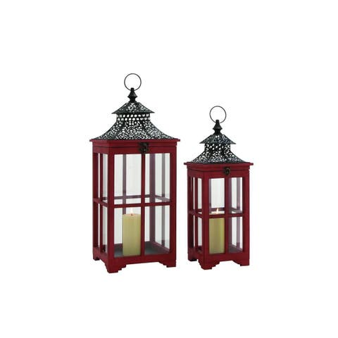 Red Metal/Wood/Glass 26-inches High x 21-inches Lanter (Pack of 2)