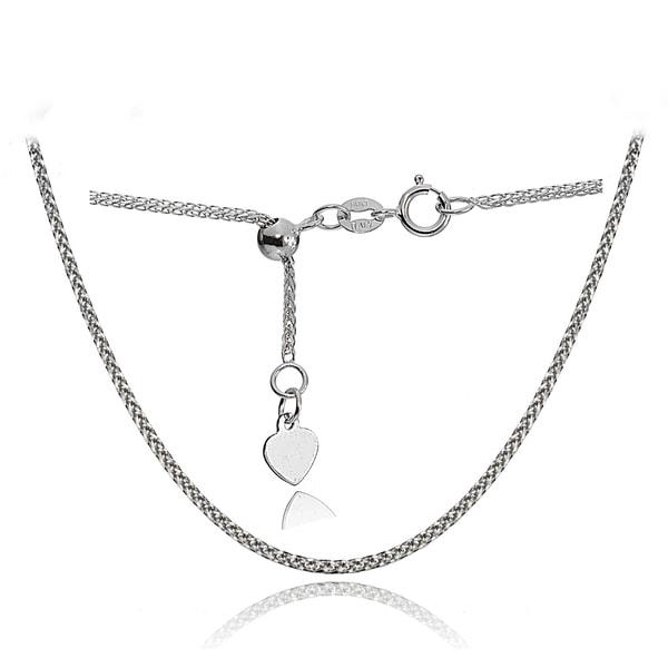 7522a532644b Mondevio 14k White Gold 0.8mm Spiga Wheat Adjustable Italian Chain Necklace
