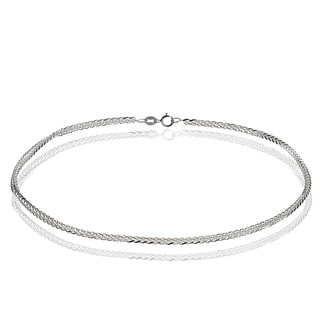 Mondevio 14k White Gold .8mm Spiga Wheat Italian Chain Anklet, 9 Inches