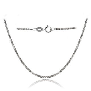 Mondevio 14k White Gold .8mm Spiga Wheat Italian Chain Necklace, 16 Inches