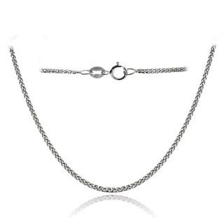 Mondevio 14k White Gold .8mm Spiga Wheat Italian Chain Necklace, 18 Inches