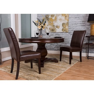 Somette Chocolate Bonded Leather Dining Chair Set (Set of 2)