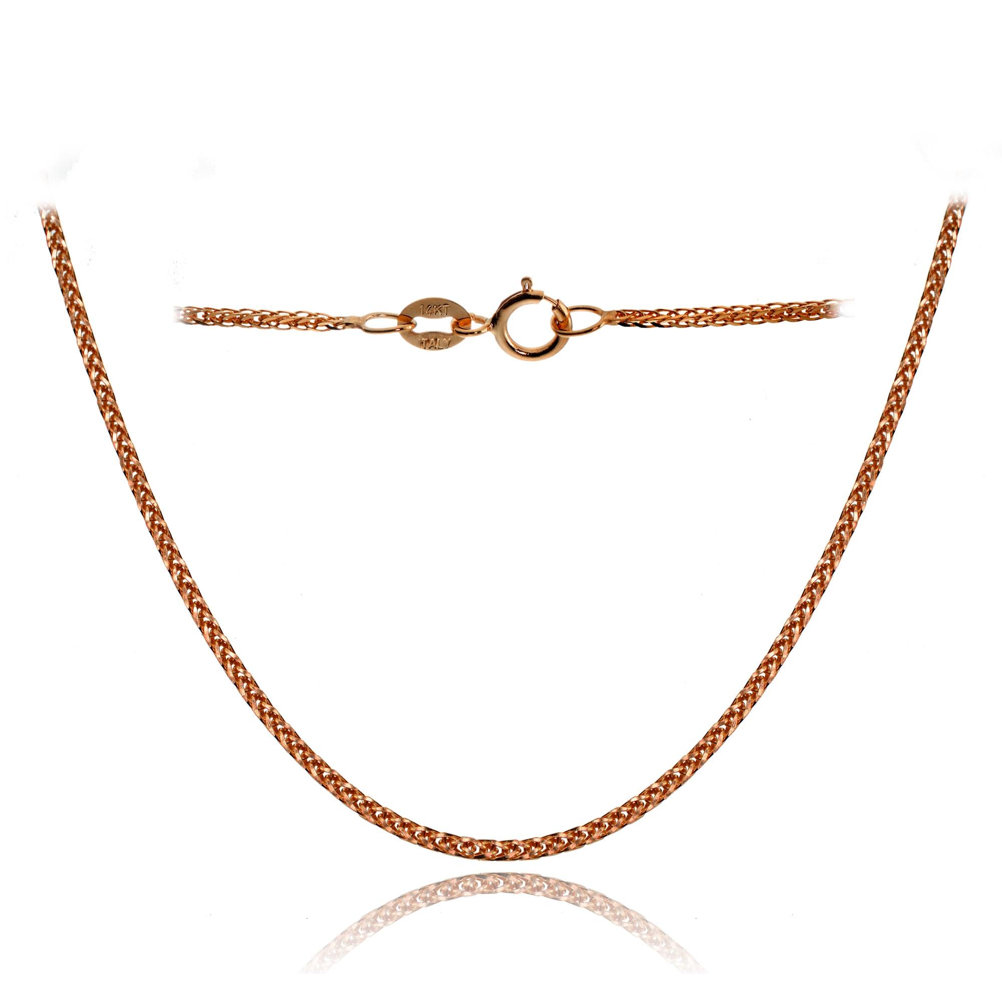 a2b5c17999824 Mondevio 14k White Gold .8mm Spiga Wheat Italian Chain Necklace, 20 Inches
