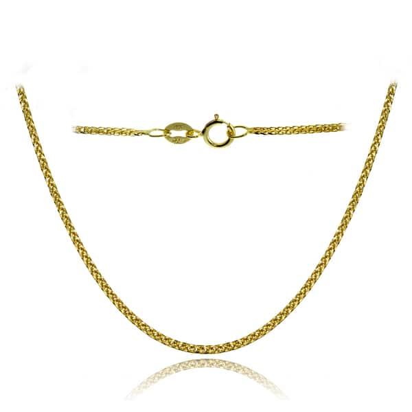 a22d580ab4a3a Shop Mondevio 14k White Gold .8mm Spiga Wheat Italian Chain Necklace ...