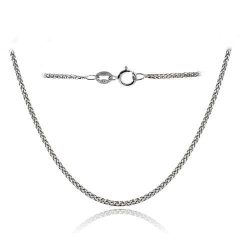 Mondevio 14k White Gold .8mm Spiga Wheat Italian Chain Necklace, 20 Inches