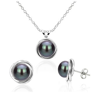 DaVonna Sterling Silver Black Freshwater Pearl Pendant and Stud Earrings Set with Bazel Design