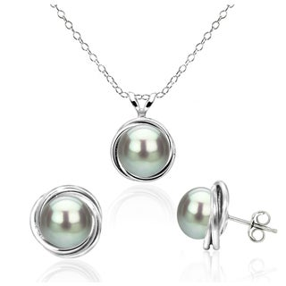 DaVonna Sterling Silver Grey Freshwater Pearl Pendant and Stud Earrings Set with Bazel Design