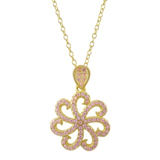 Luxiro Gold Finish Sterling Silver Cubic Zirconia Flower Children's Pendant Necklace