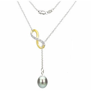 DaVonna Sterling Silver 2-tones Infinity 8-9mm Grey Long Shape Freshwater Pearl Lariat Chain Necklace