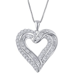 Sterling Silver 1ct TDW Diamond Heart Pendant (I-J, I2-I3)