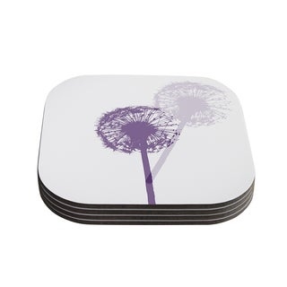 Monika Strigel 'Dandelion' Purple Flower Coasters (Set of 4)