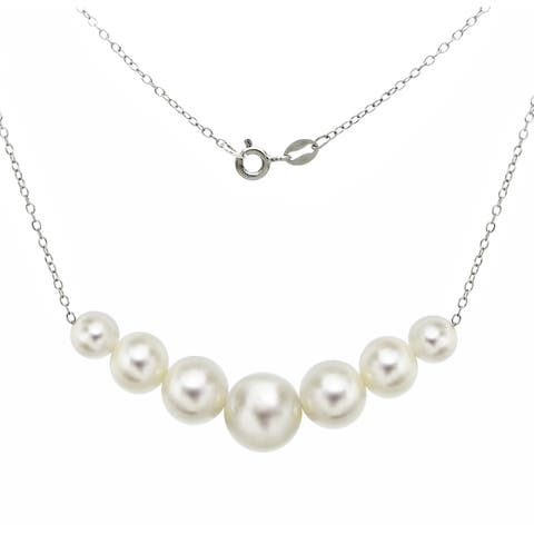 DaVonna Sterling Silver 6-10mm White Freshwater Cultured Pearls on Cable Chain Necklace 18""