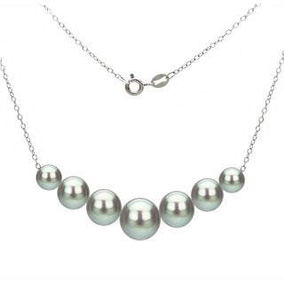 DaVonna Sterling Silver 6-10mm Grey Freshwater Cultured Pearls on Cable Chain Necklace 18""
