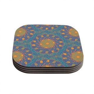 Miranda Mol 'Prismatic Orange' Orange Blue Abstract Coasters (Set of 4)