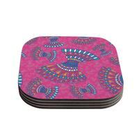 Miranda Mol 'Tribal Fun Pink' Magenta Abstract Coasters (Set of 4)