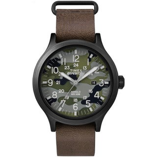 Timex Men's TW4B066009J Expedition Scout 43 Camo Dial Brown Leather Strap Watch