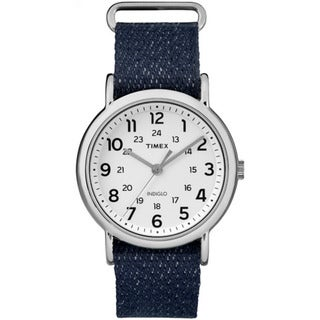 Timex Unisex TW2R106009J Weekender Dark Blue Denim Slip-Thru Strap Watch