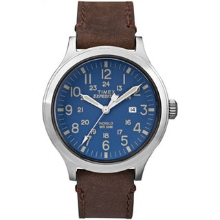 Timex Men's TW4B064009J Expedition Scout 43 Brown Leather Strap Watch