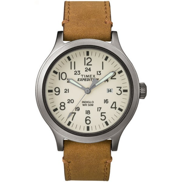 Timex Men's Expedition Scout 43 Tan Leather Strap Watch