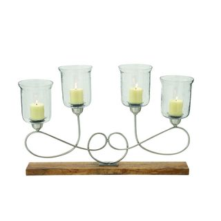 New Traditional Metal, Wood, and Glass Candle Holder