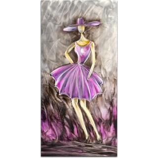 Socialite Dressed in Pink Handmade Metal Wall Art Sculpture