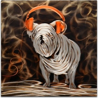 'Rocking My Orange Headphones' Handmade Metal Wall Art Sculpture