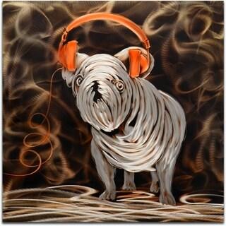 'Rocking My Orange Headphones' Handmade Metal Wall Art Sculpture