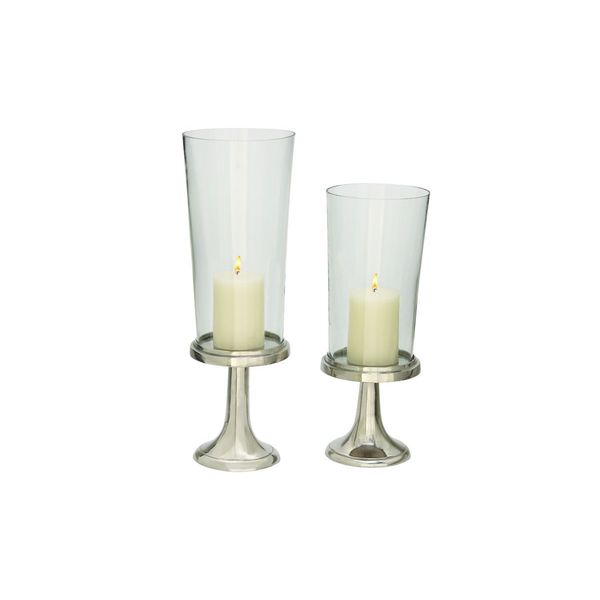 Silver Aluminum/Glass Candle Holders (Set of 2)