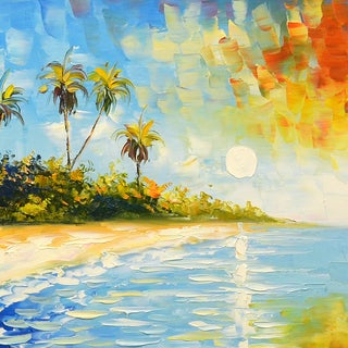 """Blissful Paradise"" Original Oil Paint Canvas Art"