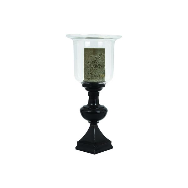 Black/Clear Metal/Glass 21-inches High x 10-inches Wide Candle Holder