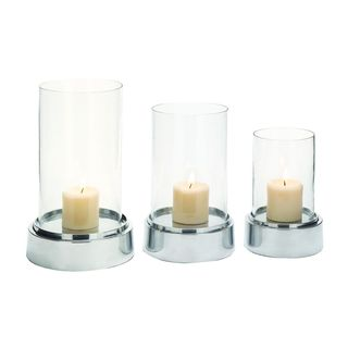 Aluminum Glass Candle Holders (Set of 3)