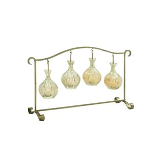 Metal/Glass 32-inch Wide x 19-inch High Candle Holder