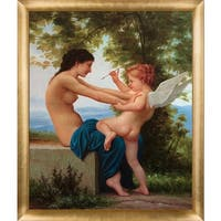 Bouguereau Young Girl Defending Herself Hand Painted Framed Canvas Art