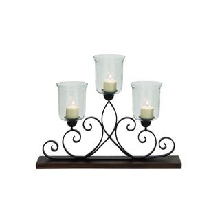 Burnished Dark Chestnut Wood and Iron 25-inch High x 32-inch Wide Candle Holder