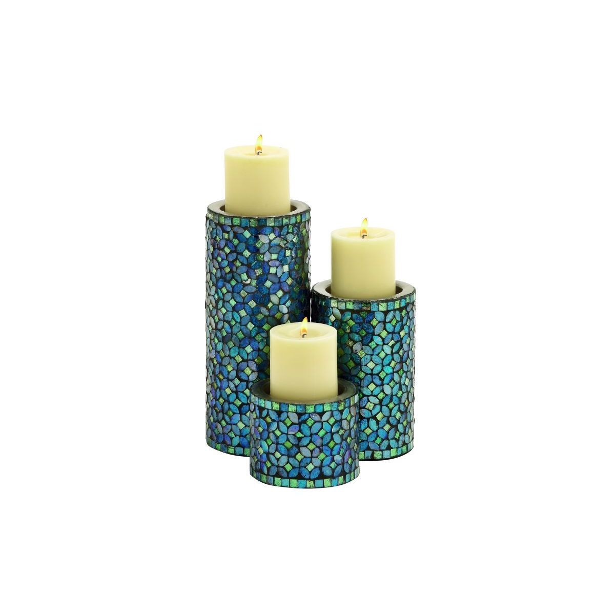 Metal Mosaic Candle Holder Set of 3 (10 inches x 7 inches x 4 inches H)