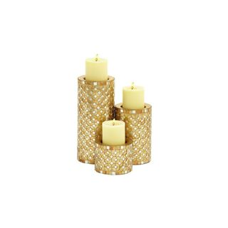 Metal 4-, 7-, 11-inches High Mosaic Candle Holders (Set of 3)