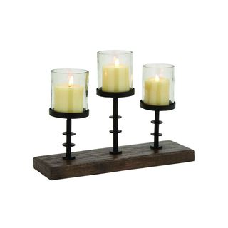 Black/Brown Iron and Wood Candle Holders (Set of 3)