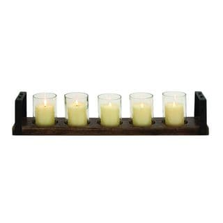 Wood Metal Glass 28-inches Wide x 5-inches High Candle Holder