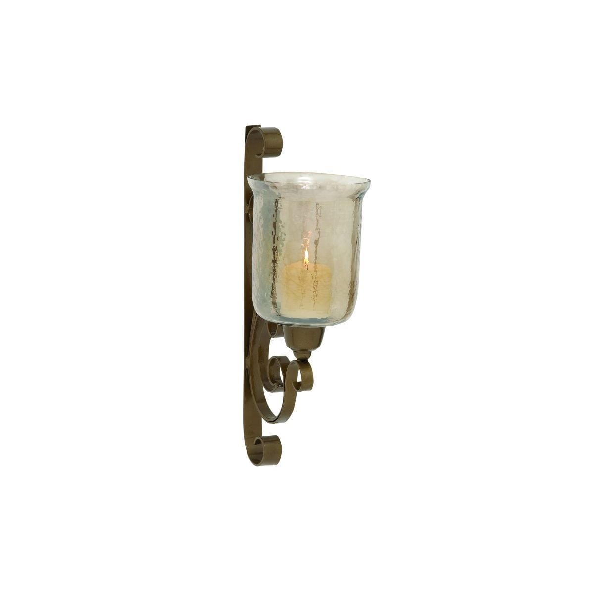 Studio 350 Metal and Glass Wall Candle Sconce (MTL GLS Wa...