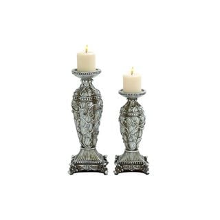 Silvertone Polystone 6-inch Wide x 16-inch High Candleholders (Set of 2)