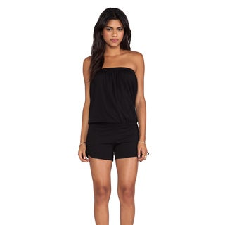 Bobi Women's Black Strapless Ruched Cotton Romper