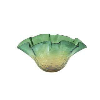 Modern Reflections Green Textured Glass Fluted Bowl
