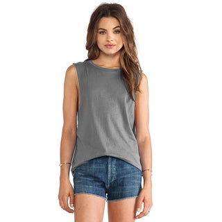 Women's Bobi Grey Cotton Muscle Tee Tank