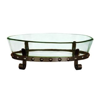 Glass/Iron 6-inch x 19-inch Serving Bowl With Stand