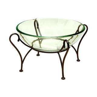 Oliver & James Buri Glass Bowl on Metal Stand