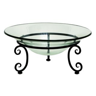 Glass Metal 17-inch-wide 8-inch-high Bowl - Thumbnail 0