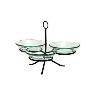 Green Glass/Iron 11-inch x 15-inch 3-bowl Server