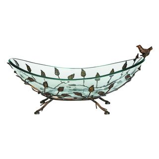 Iron and Glass Elm Leaf Bowl Server
