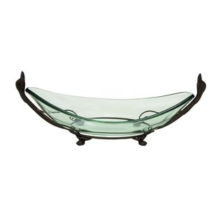 Clear Glass/Iron 20-inch x 7-inch Bowl With Stand